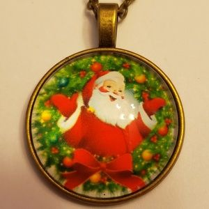 Santa Claus Glass Tile Necklace Christmas Jewelry